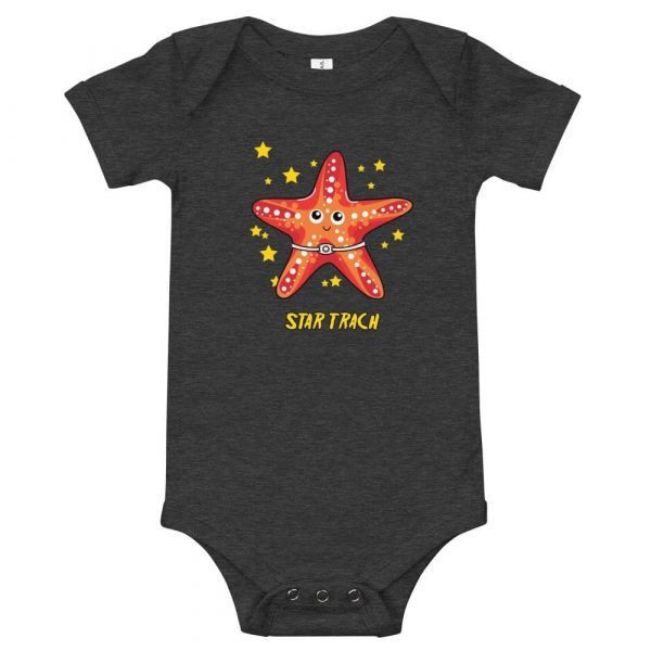 Tracheostomy onsie in grey with image of a starfish with a tracheostomy tube and Star Trach written underneathe