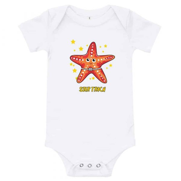Tracheostomy onsie with a starfish that has a tracheostomy tube with Star Trach written undernathe