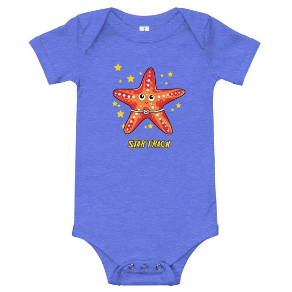 Tracheostomy onsie with image of a starfish with a tracheostomy tube and Star Trach written underneathe