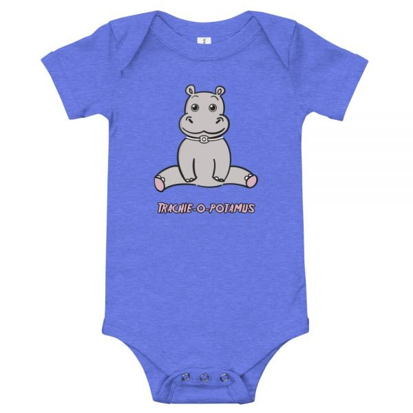 Tracheostomy Onsie in white with an image of a cartoon hippopotamus with a tracheostomy tube