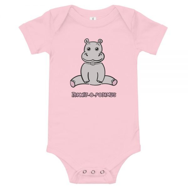 Tracheostomy Onsie in pink with an image of a cartoon hippopotamus with a tracheostomy tube