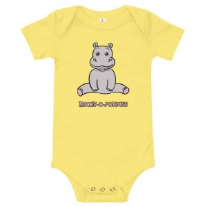 Tracheostomy Onsie in yellow with an image of a hippopotamus with a tracheostomy tube and words Trachieopotamus underneathe