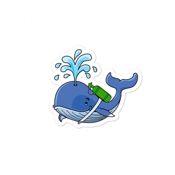 tracheostomy decal of whale with oxygen on back