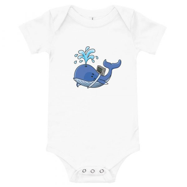 whale onsie with vent on back in white