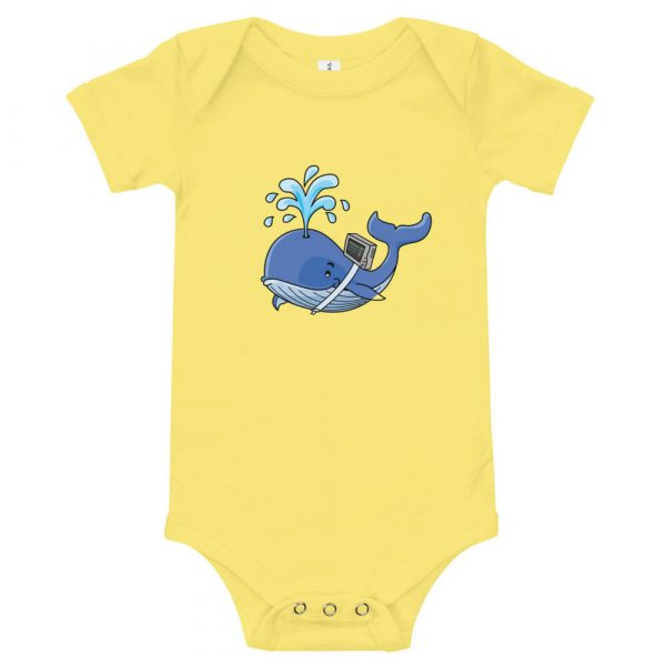 whale onsie with vent on back in yelllow