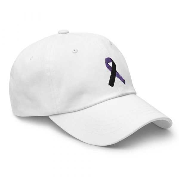 tracheostomy awareness hat with purple and black ribbon