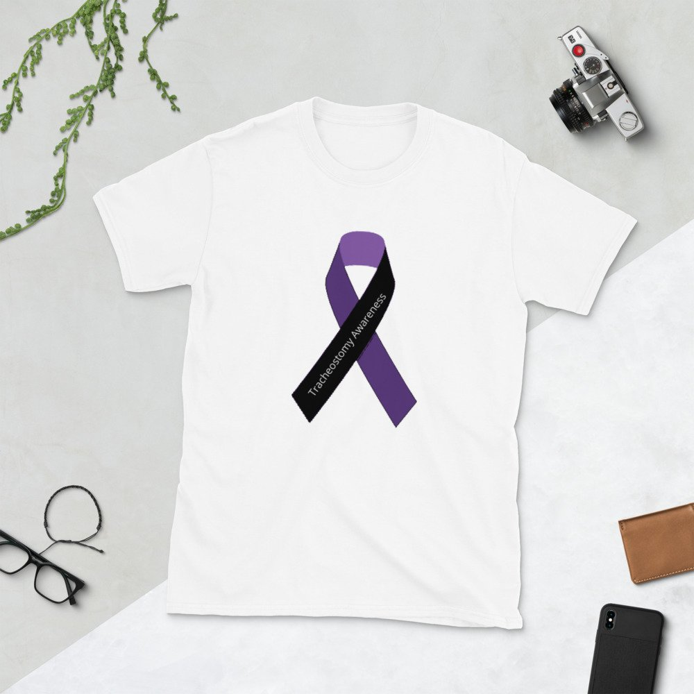 tracheostomy awareness shirt with ribbon