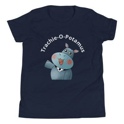 tracheostomy tshirt tracheostomy awareness tshirt trachie-o-potamus kids in navy