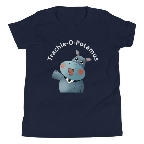 tracheostomy tshirt tracheostomy awareness tshirt trachie-o-potamus kids in navy